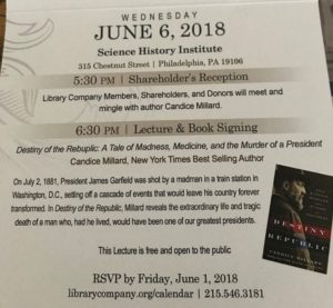 Invitation to Library Company of Philadelphia annual lecture with Candace Millard