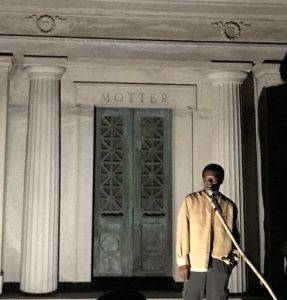 Gary Wilkinson portrays Jeffrey Deroine, Mount Mora Cemetery