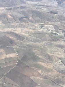 View from a plane of fields in Sicily