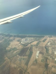 Photo from an airplane of fields near coast of Rome, Italy